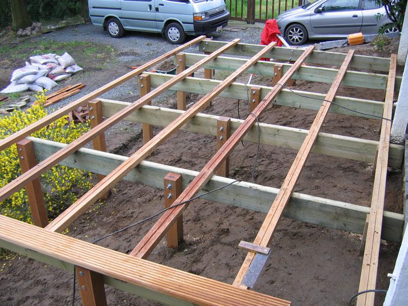 Renforts avant pose de planches de terrasse en bois