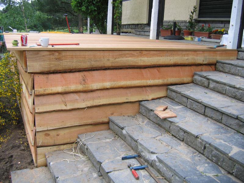 Construction dune terrasse en bois à BraineleChâteau  Laurent