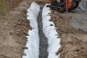 La tranchée pour la pose du drain est effectuée